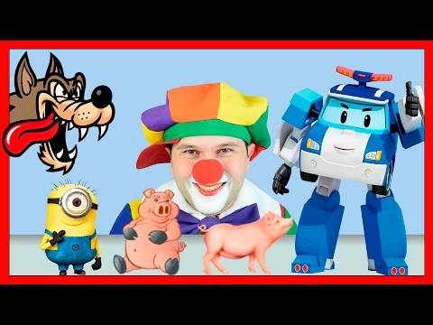 Robocar Poli & Funny Clowns | Farm Animals & Minion | Rescue Animals for kids from Wild Scary Wolf