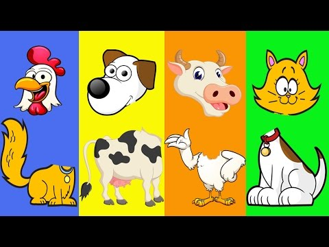 Farm Animals with Wrong Heads Part I |  Funny Learn Farm Animals Video for Children | Baby TV.