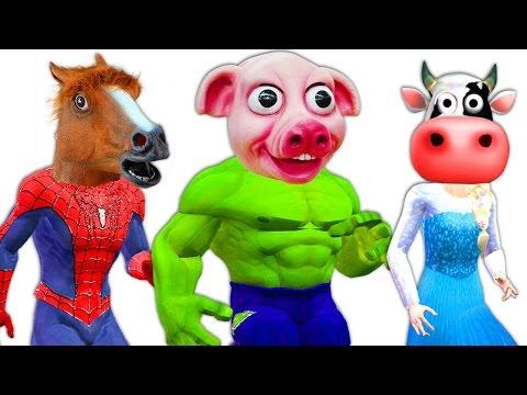 Frozen Elsa Spiderman Hulk TURNS INTO FARM ANIMALS Pink SpiderGirl Joker Venom Funny SuperHeroes