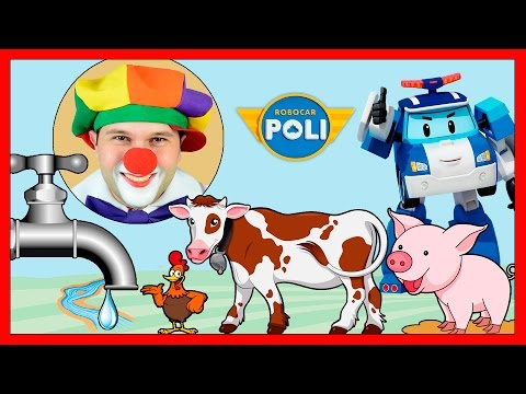 Robocar Poli & Funny Clowns on Farm | Poli Helli Roy & Amber rescue farm animals | Video for Kids