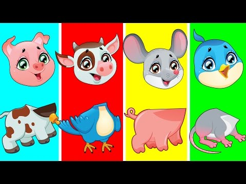Cute Farm Animals with Wrong Heads | Funny Animals Video for Kids | Fun Toddler Learning