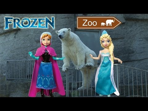 Frozen toys visit the ZOO animals funny parody