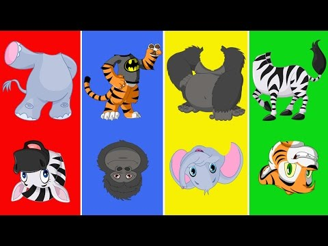 Wild Animals with Wrong Heads | Funny Animals Video for Kids | Learn Wild Animals for Children