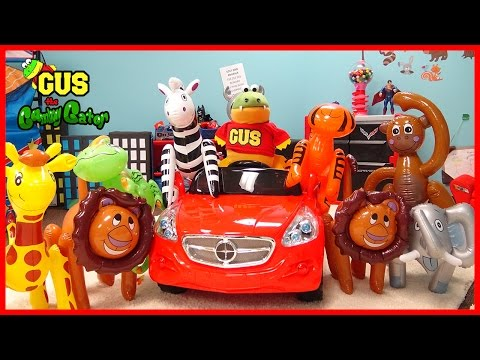 ZOO ANIMALS FOR CHILDREN! Gus Catches Wild Animals Inflatable toys Pretend Play Funny kIds Video