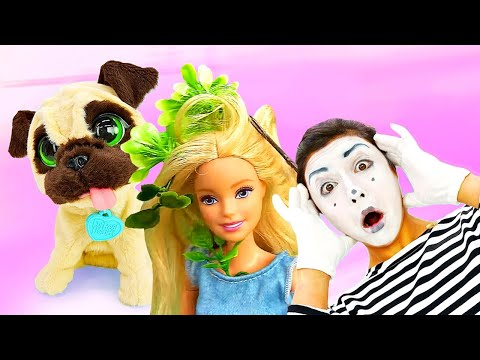 Funny videos & kids show: Barbie doll playing with a dog