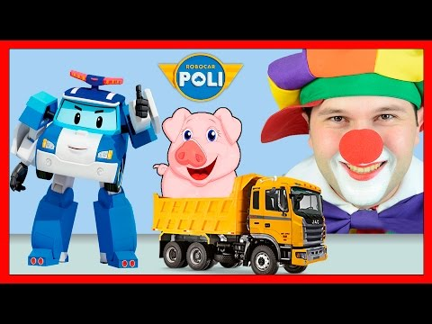 Robocar Poli & Funny Clowns | Farm Animals & Animal Transporter | Rescue Animals for kids | Lost Pig